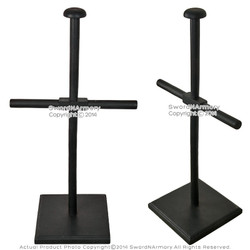 Black Solid Wooden Armor Display Stand for Medieval Breast Plate and Helmet
