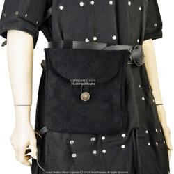 Medieval Renaissance Pirate Fair Costume Suede Leather Pouch Satchel Bag LARP BK