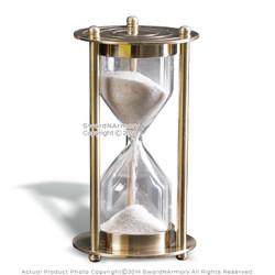 "3.5"" Brass Handmade 3 Mins Sand Timer Clock Nautical Hourglass Time Decor Gift"