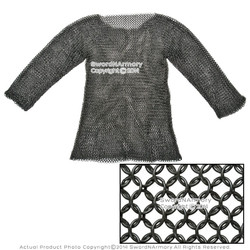 Black Large Size Hauberk Full Sleeves Chainmail Butted LARP Renaissance Costume