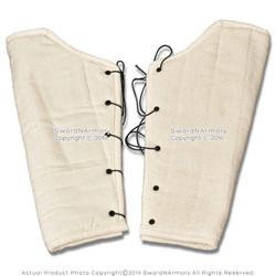 Heavy Duty Cotton Padded Leg Greaves Ecru Medieval Renaissance Costume SCA LARP