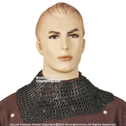 Medieval Aventail Chainmail w/ Leather Collar Protector Flat Ring Round Riveted