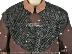 Medieval Chainmail Aventail w/ Leather Collar Round Ring Round Riveted 18G Steel