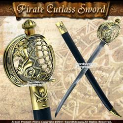 Mermaid Pirate Cutlass Sword w/ Basket Guard & Sheath 1