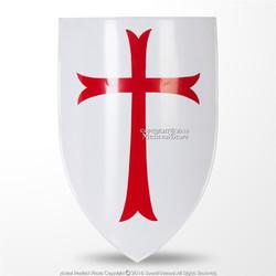 Functional Medieval Knights Templar Red Cross Heater Shield 18G Steel LARP SCA