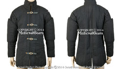 Black Gambeson Type I Medieval Padded Armour Coat SCA WMA Arming Jacket SM Size