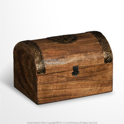 Medieval Style Wooden Treasure Chest Jewelry Trinket Box with Brass Decoration