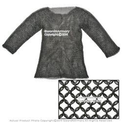 Black Hauberk Full Sleeves Chainmail Shirt Wire Butted LARP Renaissance Costume