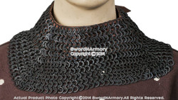 Black Aventail Medieval Neck Chainmail Camail Flat Ring Round Riveted SCA LARP L