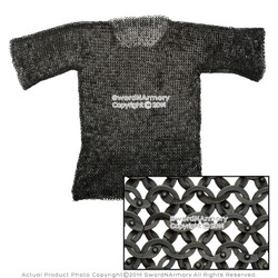 X Large Medieval Chainmail Shirt Round Riveted Flat Ring Half Sleeve SCA LARP