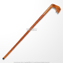 36' Handcrafted Eucalyptus Wood Walking Stick Cane Etched Tiger Shape Handle