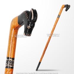 36' Polished Handcraft Eucalyptus Wooden Walking Cane Stick with Donkey Handle