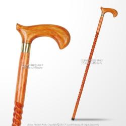 "Handcrafted 36"" Eucalyptus Wooden Gentlemen Walking Cane Stick With Brass Collar"