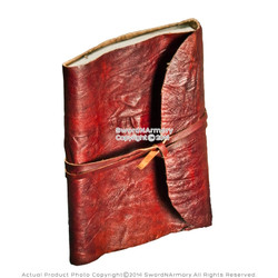Medieval Red Leather Journal Renaissance Rolled Crushed Scroll Handmade Diary