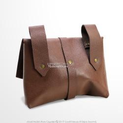 Medieval Messenger Bag Leather Belt Pouch LARP Renaissance Fair Costume Brown