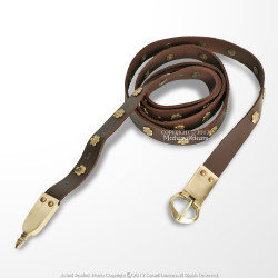 "59"" Medieval Brown Leather Belt with Brass Rosettes for Renaissance Reenactment"