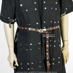 """59"""" Medieval Brown Leather Belt with Brass Rosettes for Renaissance Reenactment"""