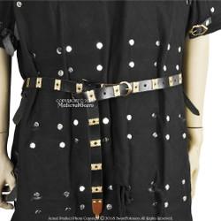 "59"" Leather Medieval Belt with Quatrefoil Brass Pierced Bars"