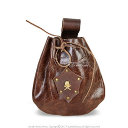 Pirate Leather Scallywag Handcrafted Costume Treasure Pouch