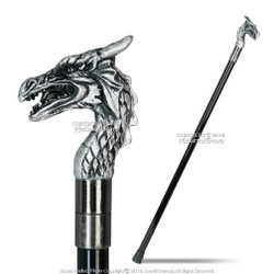 "34.5"" Guardian Dragon Gentleman's Walking Stick w/ Metal Cane a/Large Rubber Tip"