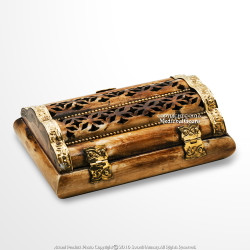 Genuine Hand Carved Camel Bone and Brass Velvet Lined Jewelry Trinket Box