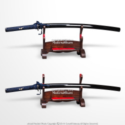 2 Tier Solid Wood Samurai Sword Display Stand w/ Dark Stain Finish Velvet Lined