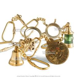 Set of 6 Handmade Brass Miniature Keychain Keyring Nautical Gift Souvenir Calendar Car Ship Cannon Sail Wheel Shipbell