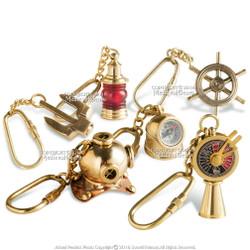 Set of 6 Handmade Brass Miniature Keychain Keyring Nautical Gift Souvenir Navigation Wheel Stockless Anchor Helmet