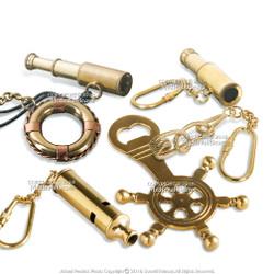Set of 6 Handmade Brass Miniature Keychain Keyring Nautical Gift Souvenir Telescope Eyeglass Ship Wheel Bottle Opener