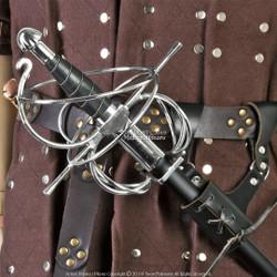 Bundle:Renaissance Swept Hilt Rapier Fencing Sword + Sword Belt Frog Holder Right Hand Left Hand Medieval Rivets Fairs Theatrical Play LF61
