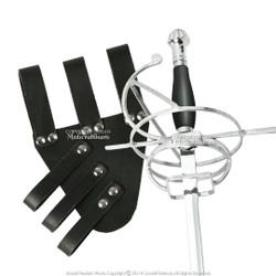 Bundle:Renaissance Swept Hilt Rapier Fencing Sword + Sword Belt Frog Holder Right Hand Left Hand Medieval Rivets Fairs Theatrical Play LF41