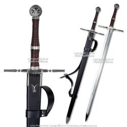 """49"""" Black Fantasy Steel Sword Geralt Long Sword Cosplay LARP with Scabbard"""