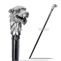 "36.5 ""Fantasy Silver Alpha Wolf Head Handle Gentleman's Walking Metal Cane"