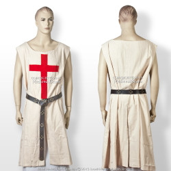 Renaissance Tudor Medieval Crusader Red Cross Tunic Tabard Robe LARP Reenactment
