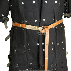 Medieval Leather Belt with Brass Buckle and Hinged End Genuine Leather Studded