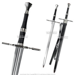 "49"" Geralt Witcher Steel Blade Replica Sword Scabbard Two Handed Medieval"