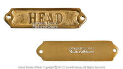 "Handmade Brass Door Sign 5"" ""Head"" Gift Souvenir"