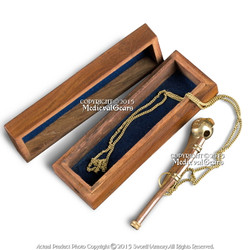 Functional Bosun Whistle Nautical Boatswain Call Pipe Wooden Display Box Lanyard