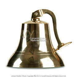"""Medium 6"""" Brass Ship Bell with U.S. NAVY Engraved Solid Cast Clapper Rich Tone"""