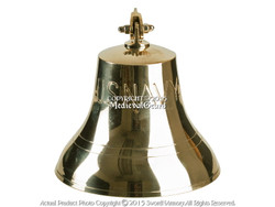 "Medium 6"" Brass Ship Bell with U.S. NAVY Engraved Solid Cast Clapper Rich Tone"
