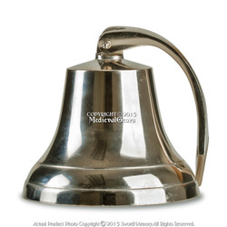 """Medium 6"""" Aluminum Ship Bell Solid Cast Clapper Rich Tone Knotted Bell Rope"""