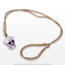 Pirates Skull Head Polished Bone Bead Pendant Adjustable Leather Strap Necklace