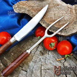 Medieval Cutlery Hand Forged Set Stainless Steel Fork Knife Renaissance Fair