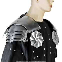 Pauldrons Asymmetrical with Rondell Type E 18G Besagues Spaulder Shoulder Armour