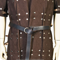 Black Genuine Leather Viking Ring Belt for Medieval Renaissance Costume LARP