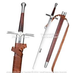 Handmade Functional Full Tang Medieval Knight Sword Peened Tang Spring Steel SCA