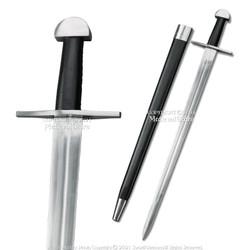 "38"" Viking Steel Sword Unsharpened Medieval Cosplay LARP SCA w/ Scabbard"