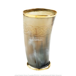 """6"""" Ceremonial Viking Drinking Mug Cow Horn Bos Taurus Cup Celtic Knot Brass Base"""