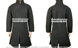 Black L Medieval Gambeson Cloth Type 3 Padded Armour LARP SCA WMA Arming Jacket