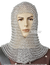 Medieval Chainmail Head Coif  Aluminum Butted Wire LARP Movie Costume Reeactment